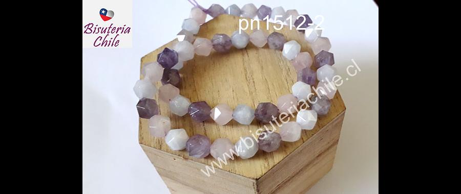 Mix de piedras corte hexagonal, amatista, ,cuarzo rosado y agua marina, 8 mm, tira 20 unidades