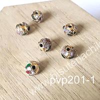 Perla española 8 mm en tono dorado, set de 6 unidades