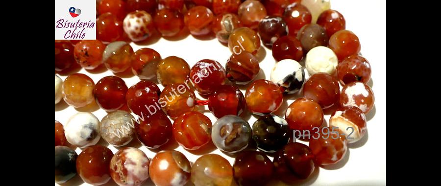 Agata naranjos y blancos,  facetada de 8 mm, tira de 48 piedras aprox