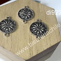 Dije plateado  doble conexión, 20 mm de diámetro, set de 3 unidades