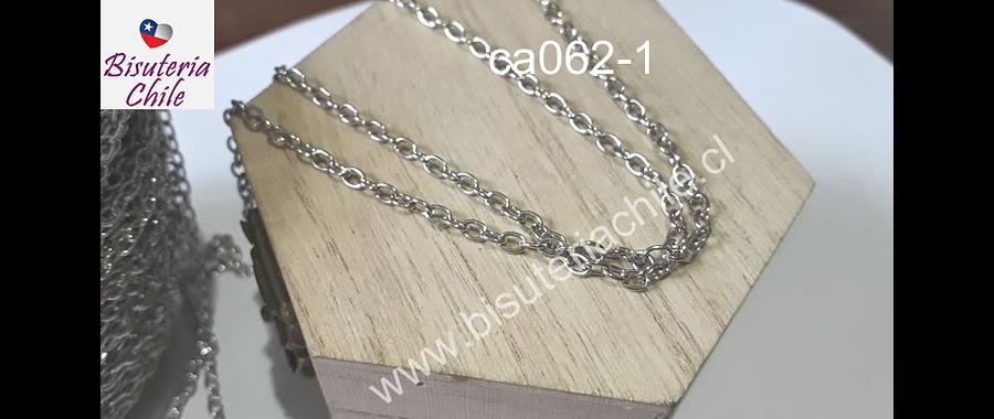 cadena plateada, eslabón, 3 x 4 mm, por metro