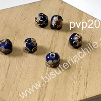 Perla española 8 mm en tono azul, set de 6 unidades
