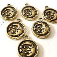 Dije dorado con luna, 15 mm de diámetro, set de 6 unidades