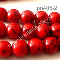 Howlita roja, 8 mm tira de 52 piedras aprox