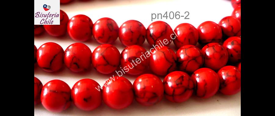 Howlita roja, 6 mm tira de 68 piedras aprox