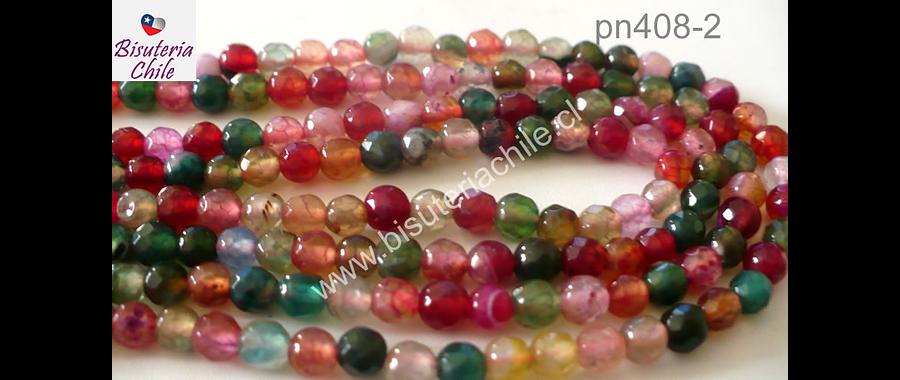 Agata de 4 mm en tonos rojos, verdes y rosados, tira de 90 piedras aprox