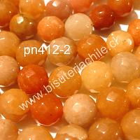 Agata de 8 mm en tonos naranjos, tira de 47 a 48 piedras aprox.