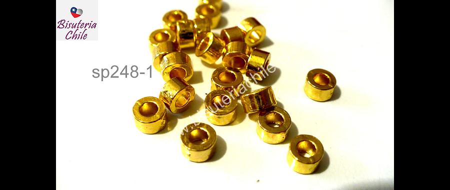 Separador dorado, 5 mm por 3 mm , agüero de 3 mm, set de 15 unidades