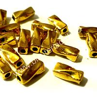 Separador dorado, 9 mm por 4 mm , agüero de 1,5 mm, set de 16 unidades