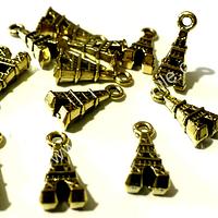 Dije dorado en forma de torre, 12 mm de largo por 6 mm de ancho, set de 12 unidades