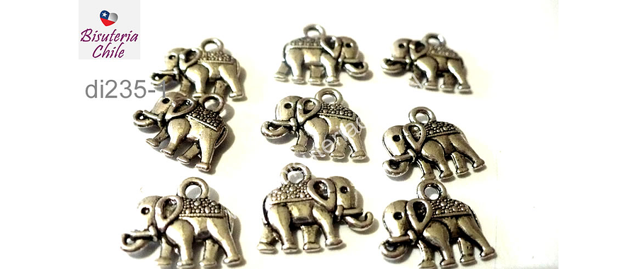 Dije plateado en forma de elefante, 15 mm de ancho por 15 mm de alto, set de 7 unidades