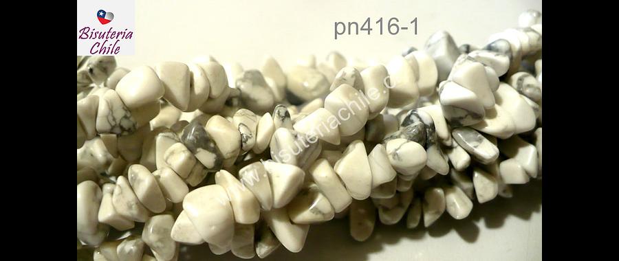 Howlita picada, piedra medana, tira de 80 cm