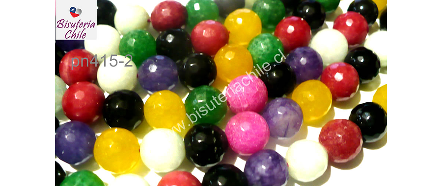 Agata en tonos negros, rosados, amarillos verdes y lilas, 10 mm, tira de 38 piedras aprox