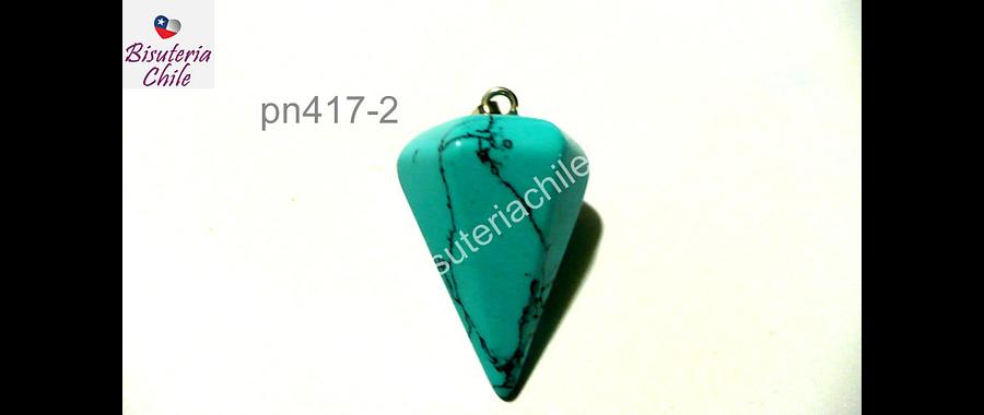 Dije pendulo turquesa, 22 mm de largo y 15 mm de ancho, con valier, venta por unidad