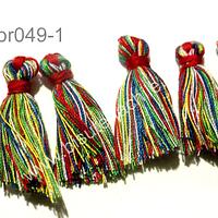 Borla chica multicolor,  38 mm de largo, set de 5 unidades