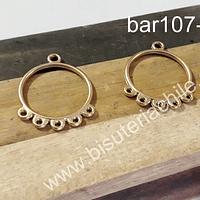 Base de aro baño de oro, 26 mm de largo x 20 mm de ancho, por par