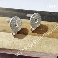 base de aro plateada, baño de plata, 13 mm de diámetro,  por par