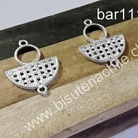 Base de aro baño de plata, 27 mm de largo x 21 mm de ancho, por par