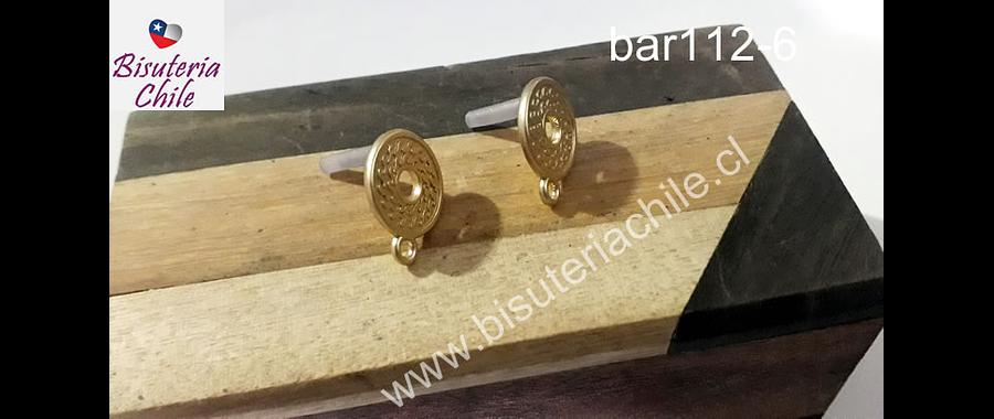 base de aro, baño de oro, 13 mm de diámetro, por par
