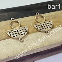 Base de aro baño de oro, 27 mm de largo x 21 mm de ancho, por par