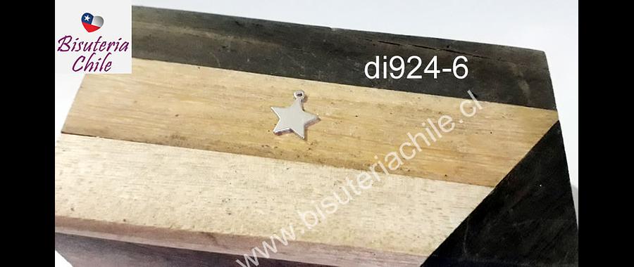Dije de plata en forma de estrella, 10 mm de diámetro, por unidad
