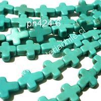Turquesa en forma de cruz, 10 mm de largo por 8 mm de ancho, tira de 40 cruces