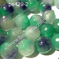 Agata de 10 mm en tonos verdes y lilas de aprox 38 piedras aprox