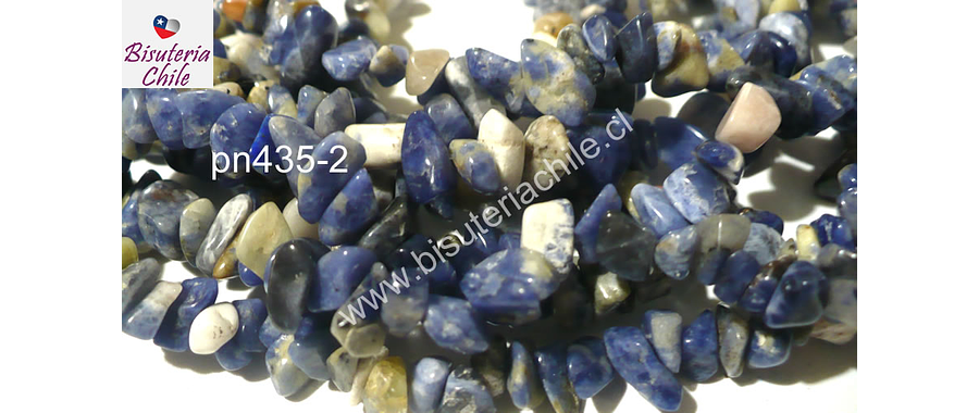 Sodalita picada, piedra pequeña, tira de 80 cm aprox