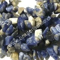 Sodalita picada, piedra chip pequeña, tira de 80 cm aprox