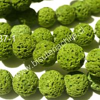Piedra volcanica de color verde, 8 mm, tira de 50 piedras aprox.
