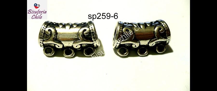 Separador plateado especial para colgar dijes, 20 mm de largo por 11 mm de ancho, agujero de 5 mm, se vende por pares