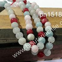 Agata blanca lisa 6 mm colores rojo, blanco y celeste, tira de 62 piedras aprox.