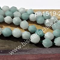 Amazonita aqua, hexagonal de 8 mm, tira de 20 piedras