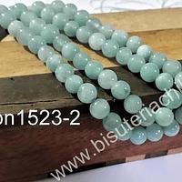 Agata blanca lisa 6 mm colores jade claro tira de 62 piedras aprox.