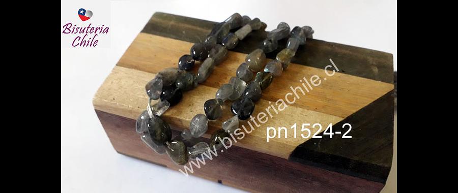 Labradorita irregular redondeada, tira de 55 piedras, de 7 x 5 mm aprox.