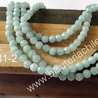 Agata de 4 mm facetada, en tono jade claro, tira de 85 piedras aprox