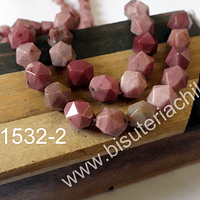Rodonita corte hexagonal de 10 mm, tira de 6 piedras
