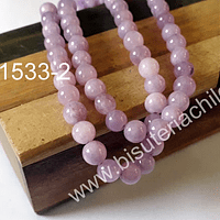 Agata lisa 6 mm color lila claro tira de 62 piedras aprox.