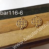 Base de aro baño de oro, 15 mm de diámetro, por par