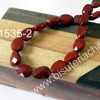 Gota achatada facetada de jaspe rojo, 11 x 8 mm, 3,5 mm de ancho, tita de 18 piedras