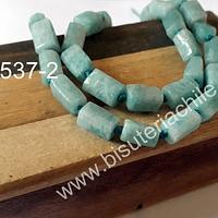 Amazonita aqua en forma de tubo, 10 mm de largo x 7 mm de ancho, set de 6 piedras