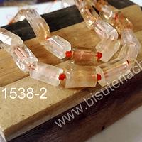 Citrino en forma de tubo, 10 mm de largo x 7 mm de ancho, set de 6 piedras