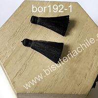 Borla de seda color negro, 26 mm de largo , por par