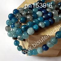 Piedra Agata de 8 mm en tonos azules, tira de 47 piedras aprox