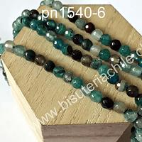 Agata facetada de 6 mm, en tonos calipso verdoso, tira de 60 piedras aprox