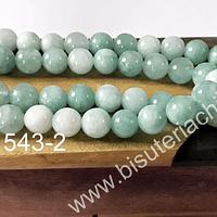 Agata lisa 8 mm, en tonos jade, tira de 46 unidades aprox