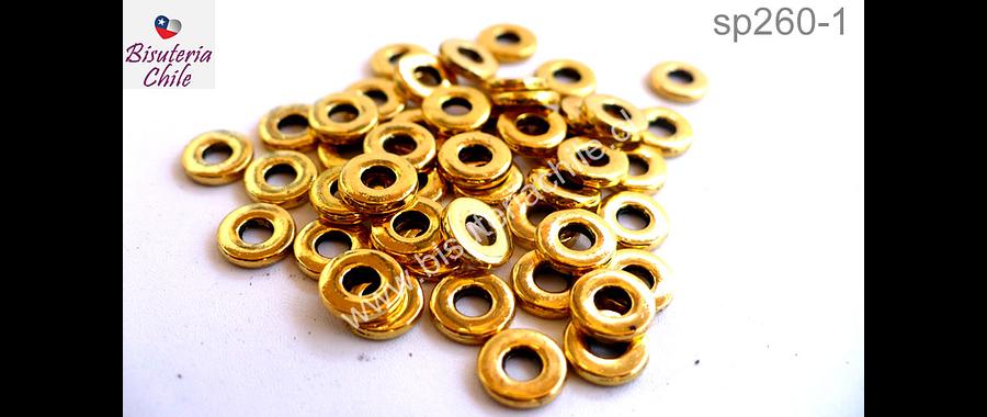 Separador dorado, 6 mm de diámetro y agujero de 2 mm, set de 45 unidades
