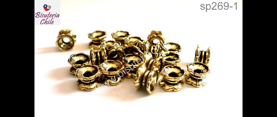 Separador dorado, 6 mm de ancho por 7 mm de alto agujero de 2 mm, set de 20 unidades