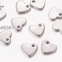 Dije de corazón de acero, de 10 x 9 mm, set de 3 unidades