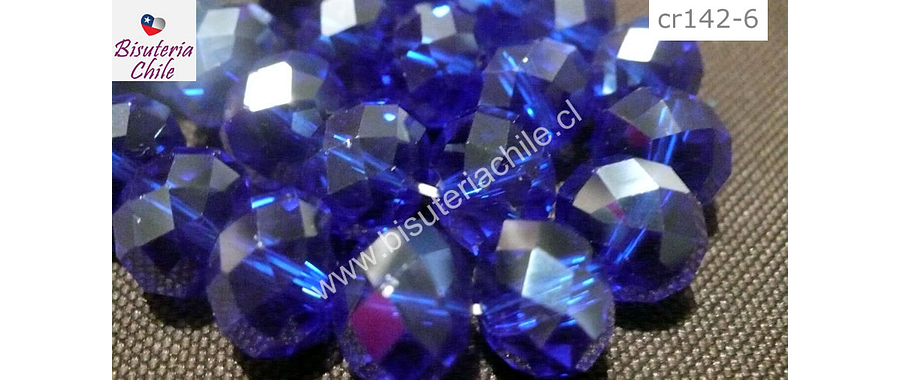 Cristal 10 x 8 mm, azul transparente, set de 20 unidades